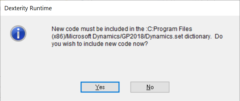New code must be included...