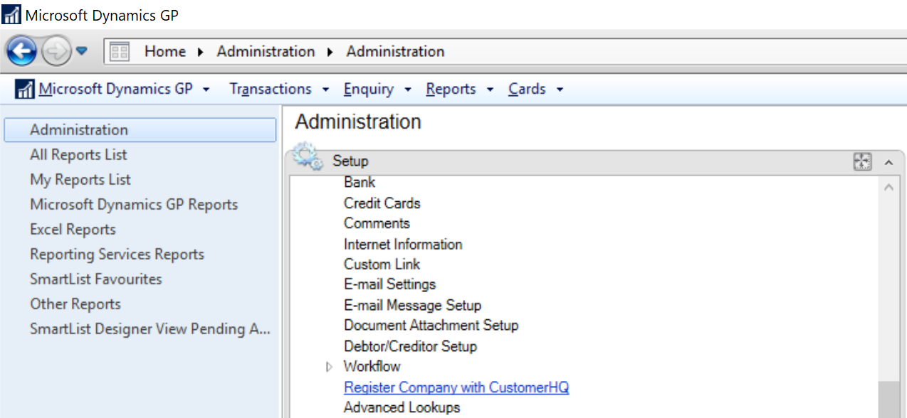 Administratio mneu showing Setup section and Regieter Company with CustomerHQ option