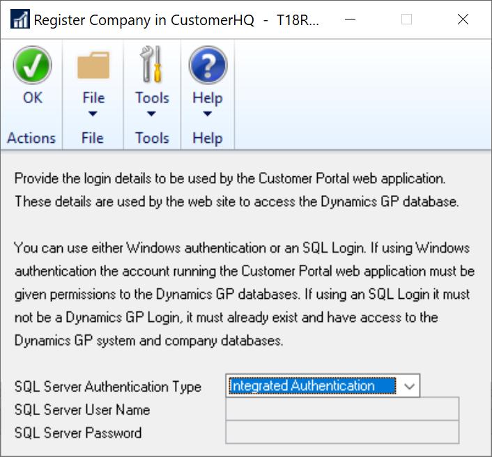Register Company iN salesHQ window
