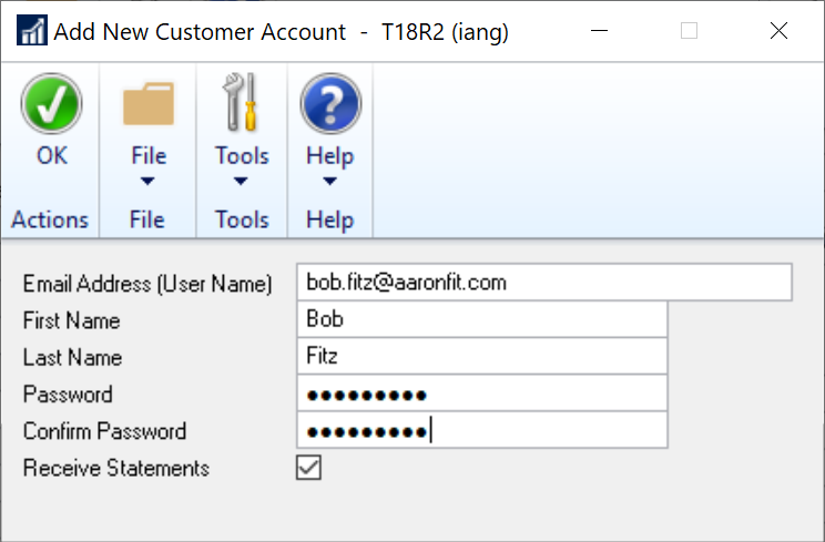 Add New Customer Account