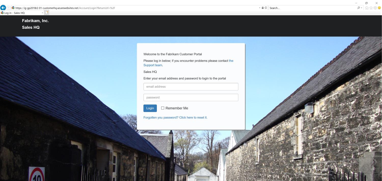 Sales HQ web portal logon screen