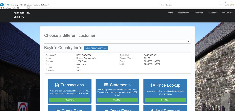 SalesHQ portal showing fabrikam data