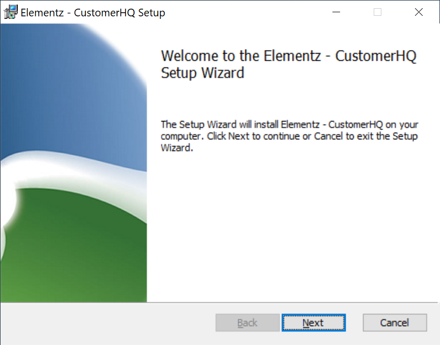 Welcome to the Elementz - CustomerHQ Setup Wizard