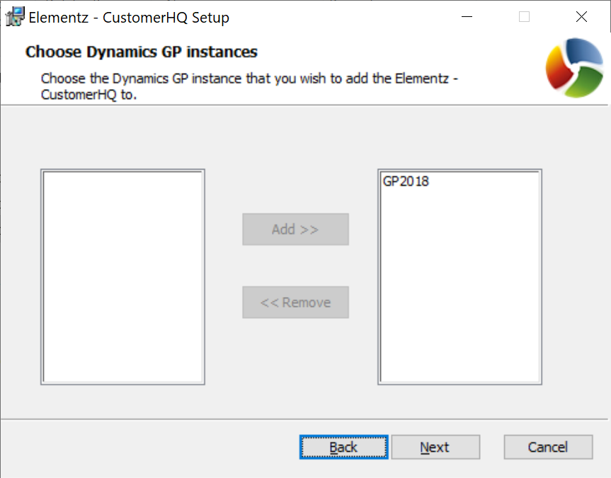 Choose the Dynamics GP instances window showing selected client