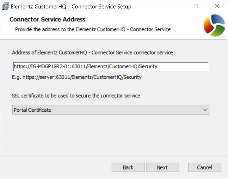 Connector Service Address screen
