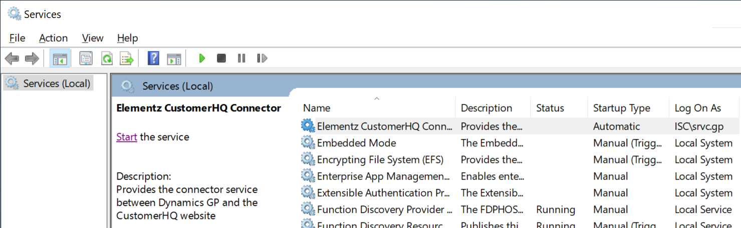Servies window with Elementz CustomerHQ Connector selected