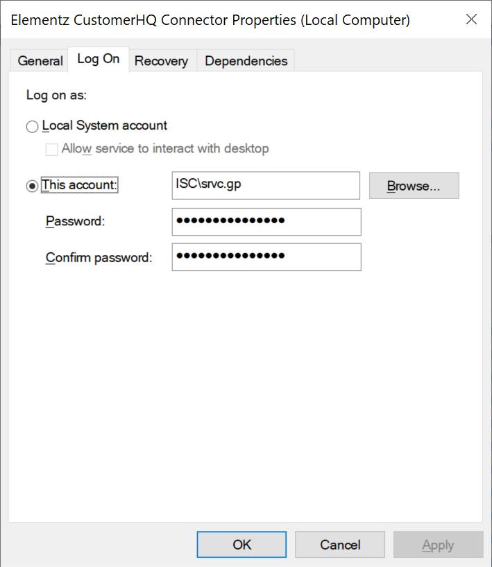 Elementz CustomerHQ Connector Properties showing the Log On tab