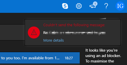 Error message popup