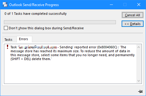 Desktop Outlook showing error trying to send an email