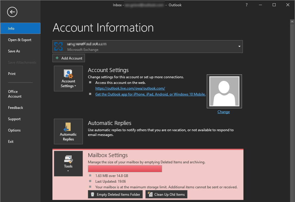Outlook Info - Account Information