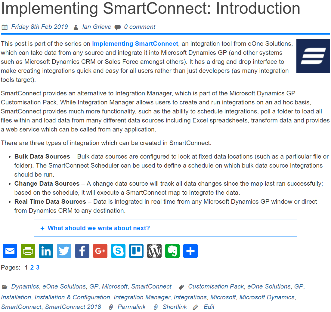 Blog post with pagination