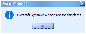 SmartConnect - Microsoft Dynamics GP map update completed