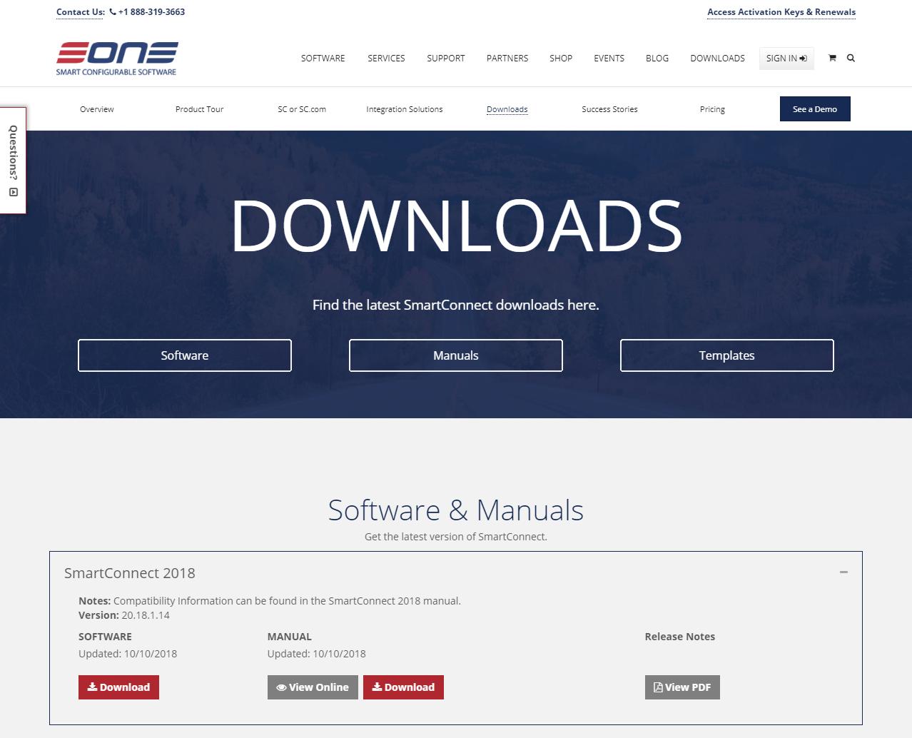 SmartConnect Downloads website