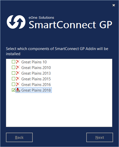 SmartConnect - Select which components of SmartConnect GP Addin will be installed