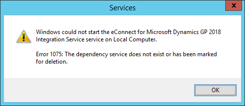 Services - Windows could not start the eConnect for Microsoft Dynamics GP 2018 Integration Service service on the Local Computer
