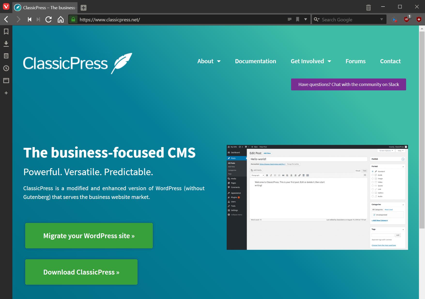 ClassicPress site with Download ClassicPress button