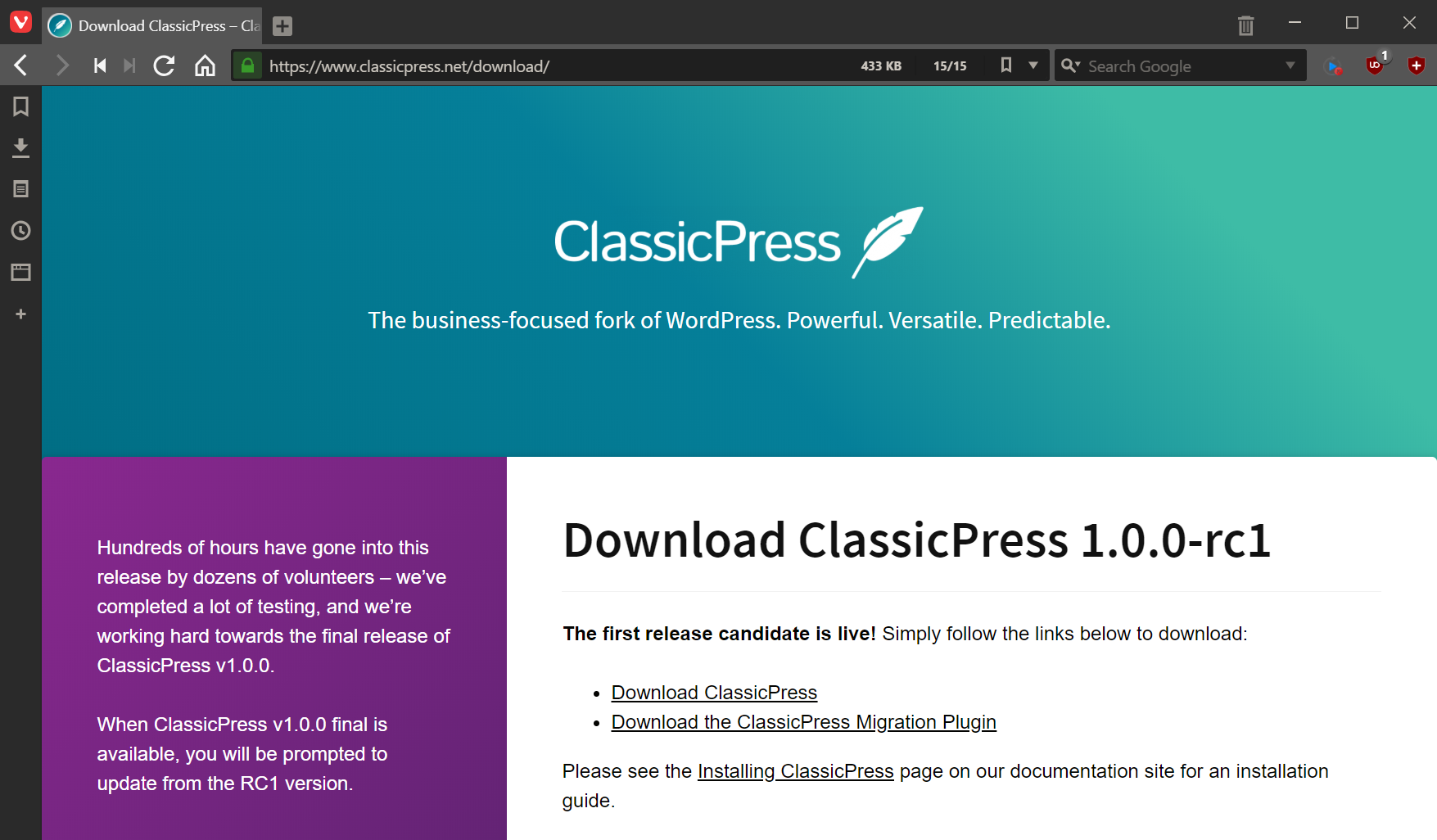 ClassicPress download page with link