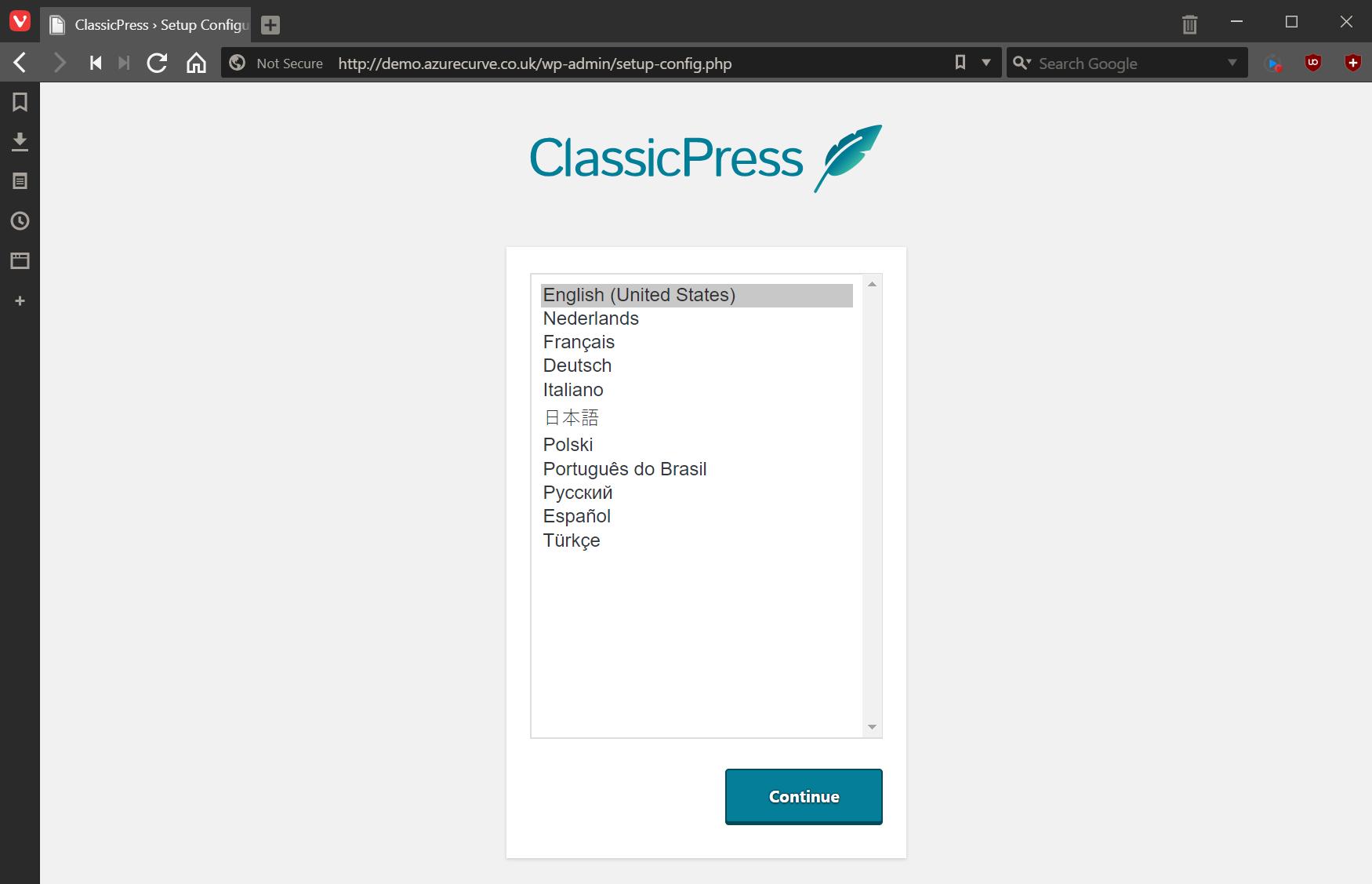 ClassicPress Setup Configuration