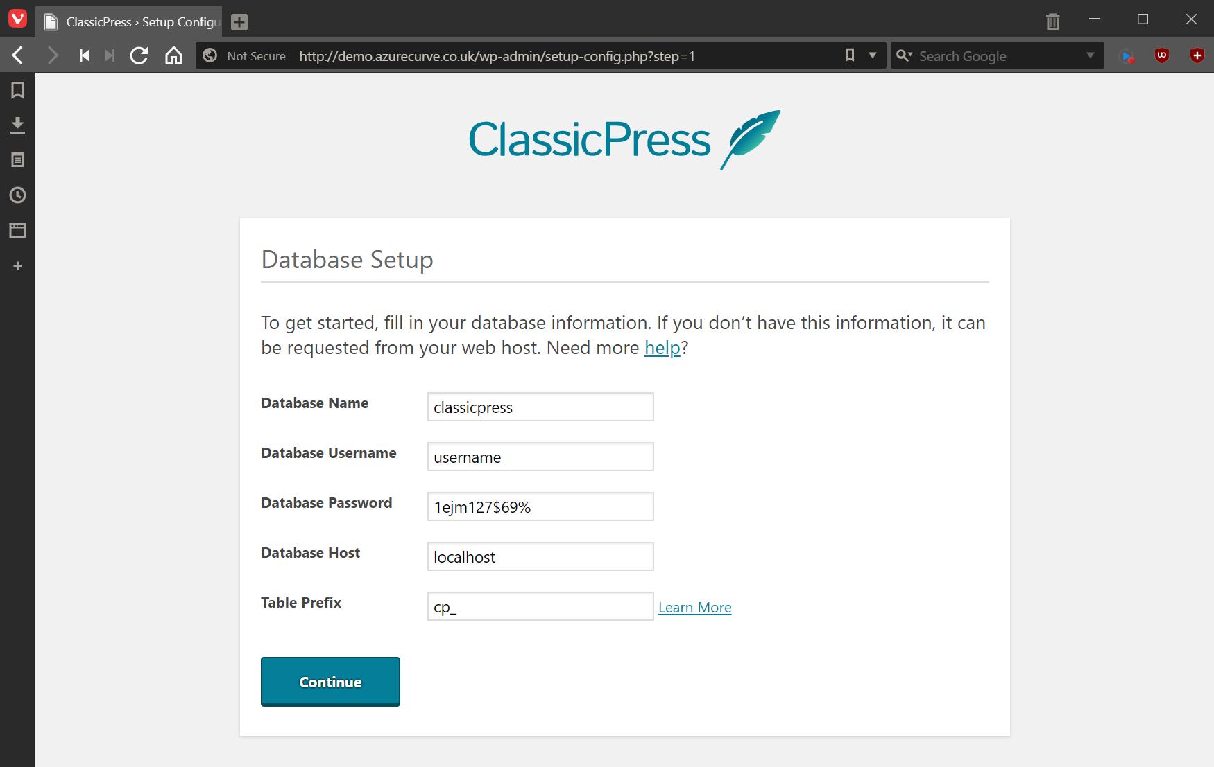 ClassicPress Database Setup