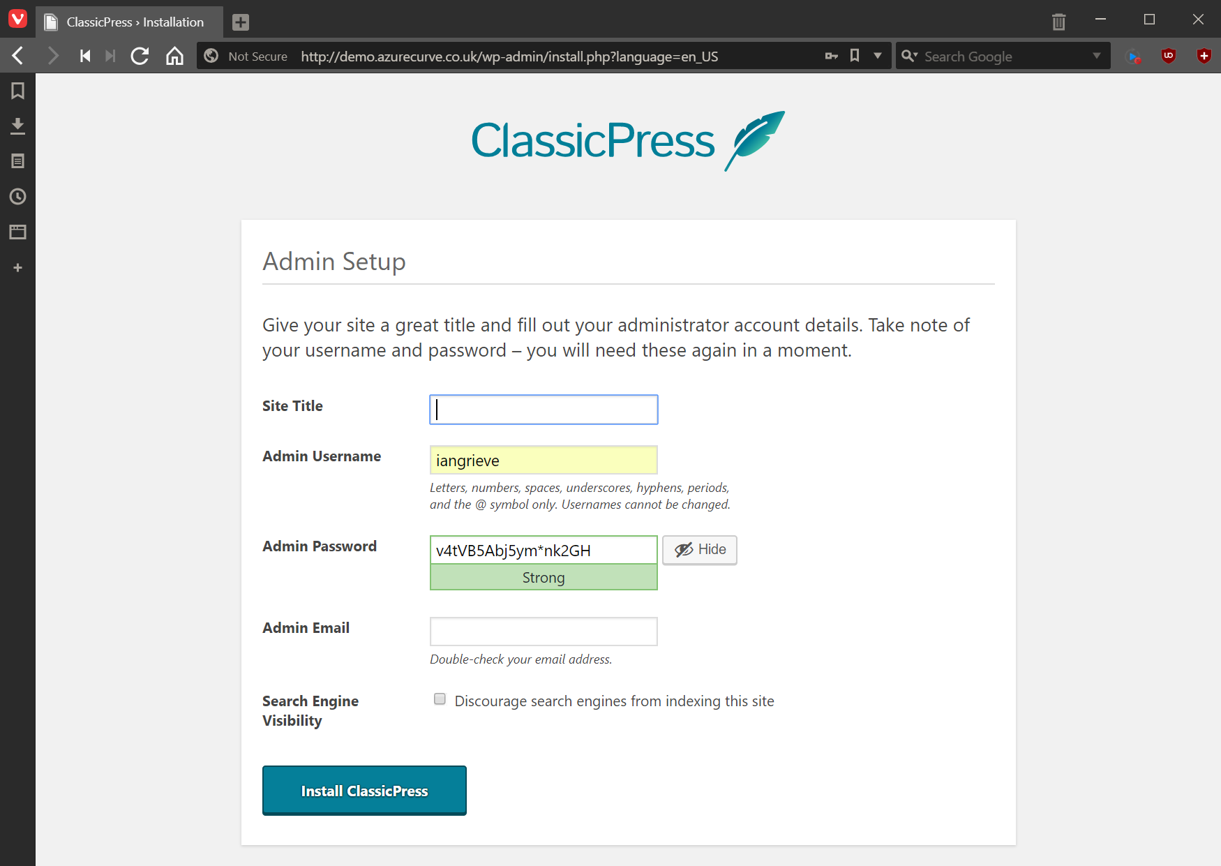Admin Setup page