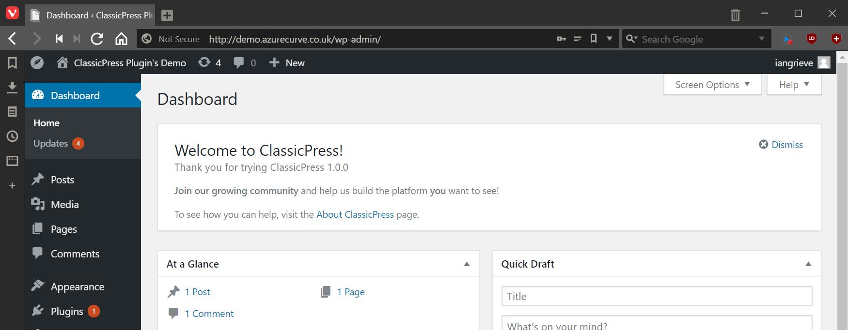 ClassicPress admin dashboard