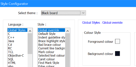 Style Configurator showing the Themes dropdown list