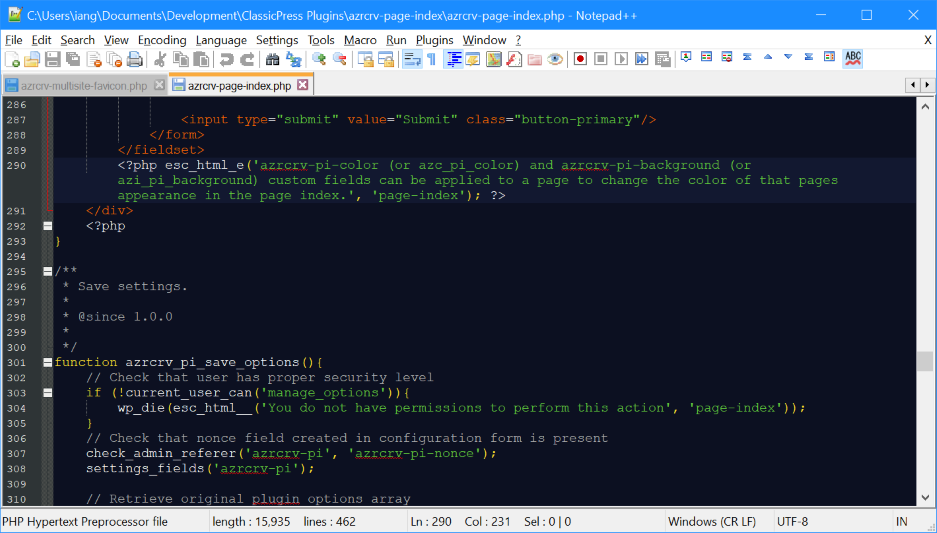 Notepad++ showing new theme