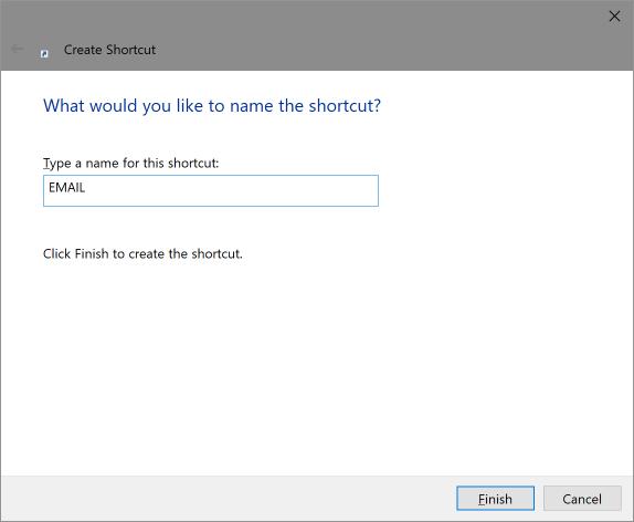 Create shortcut - enter name