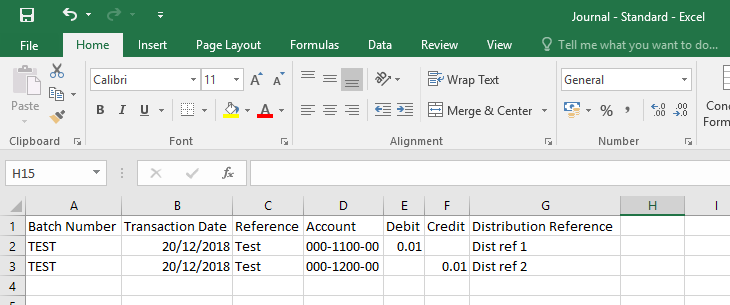 Excel spreadsheet showing blank debit and credit cells when opposing credit and debit cells are populated