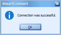 Connection was successful message popup
