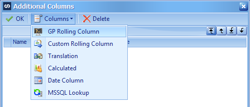 Additional Columns window showing the GP Rolling columns option