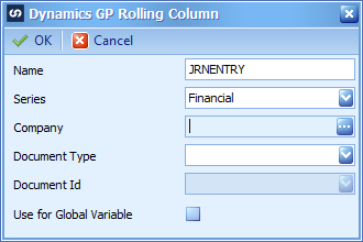 Dynamics GP Rolling Column showing data entered