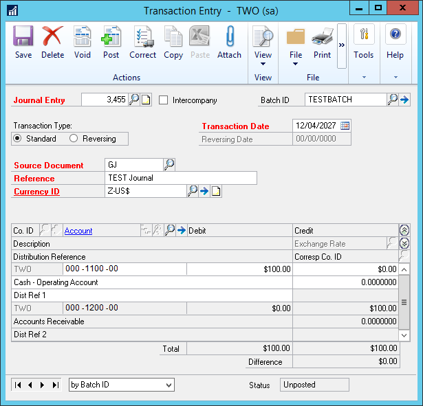Transaction Entry window showing integrated transaction