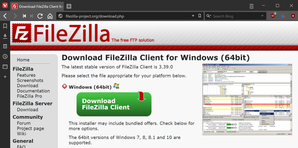 FileZilla - The free FTP solution download page