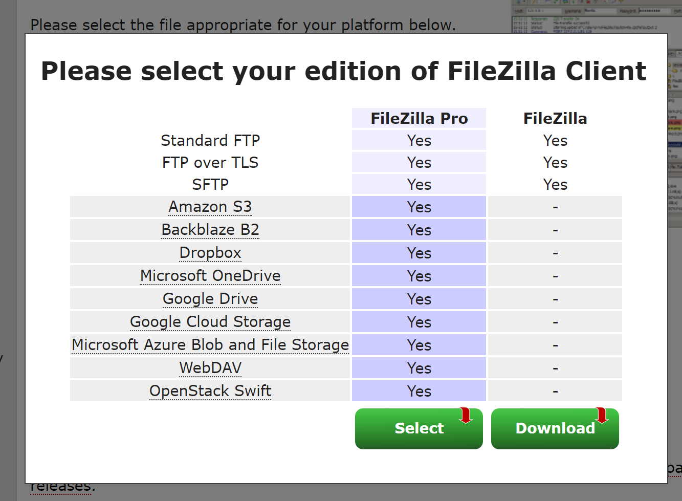 Please select your edition of FileZilla client