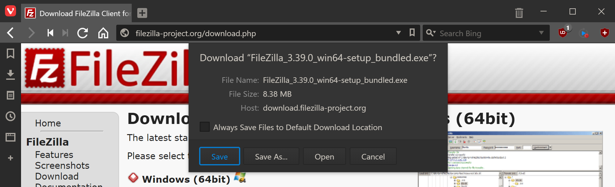 Save or open downloaded file