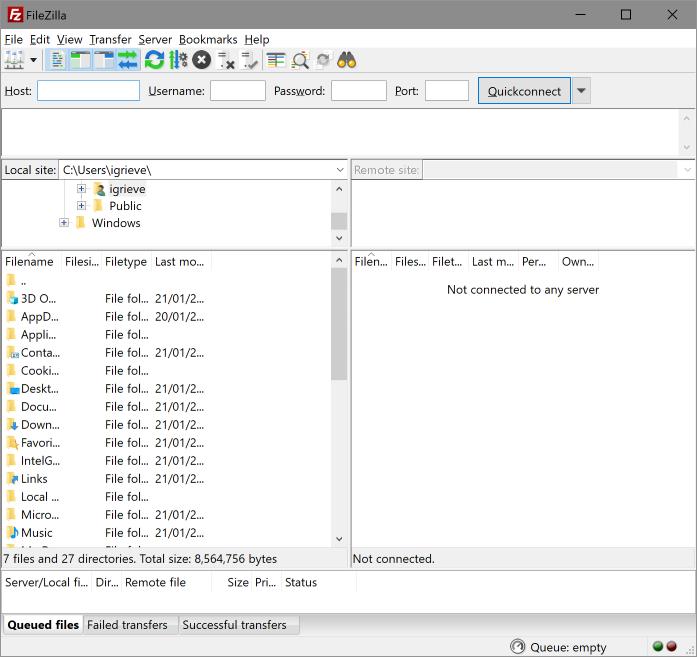 FileZilla window