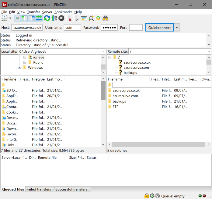 FileZilla showing FTP server files