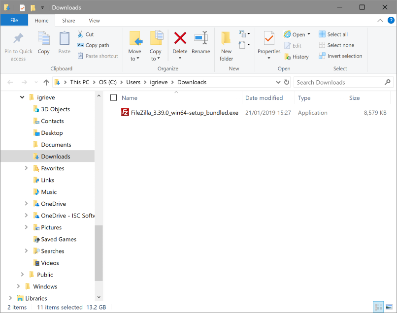 Windows Explorer showing the downloaded file