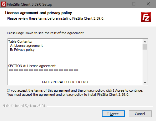 License agreement and privacy policy