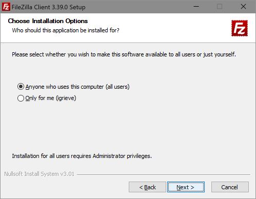 Choose Installation Options
