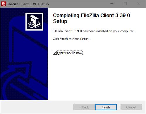 Completing FileZilla Client Setup