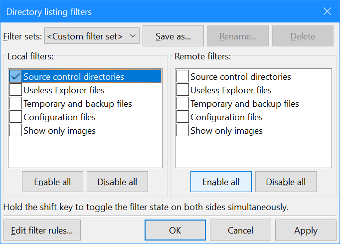 Directory listing filters