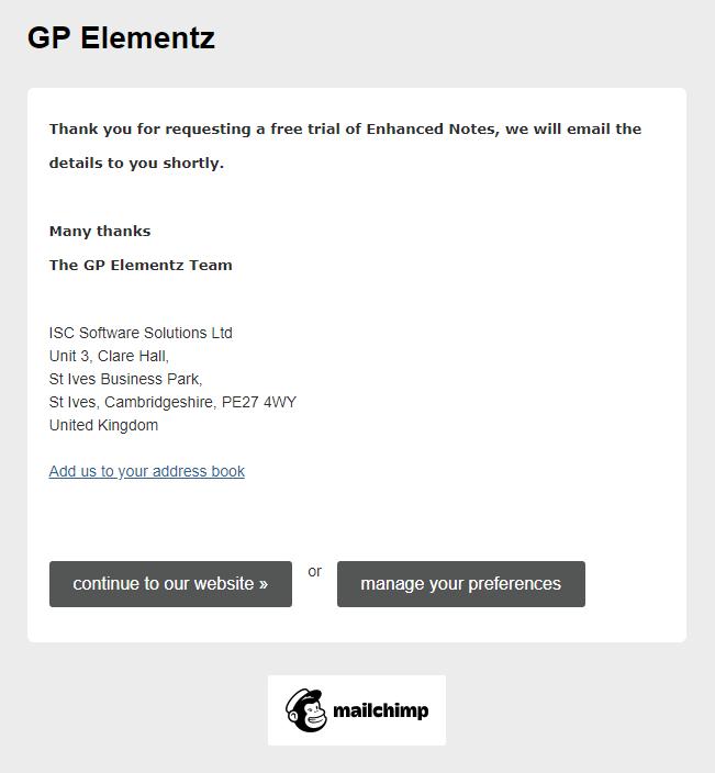 GP Elementz free trial confirmation