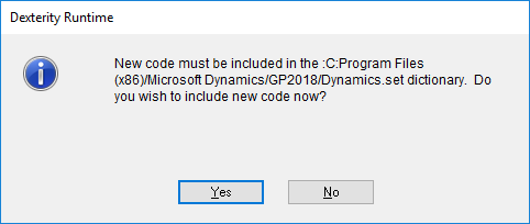 New code inclusion message