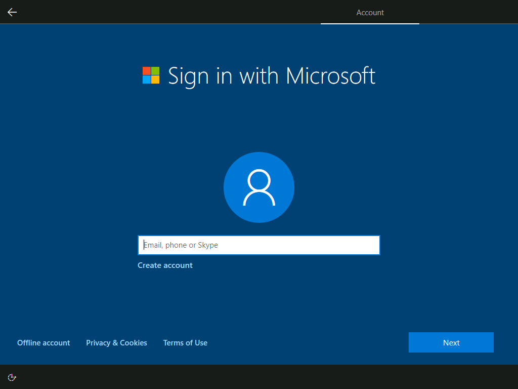 Account: Sign in with Microsoft