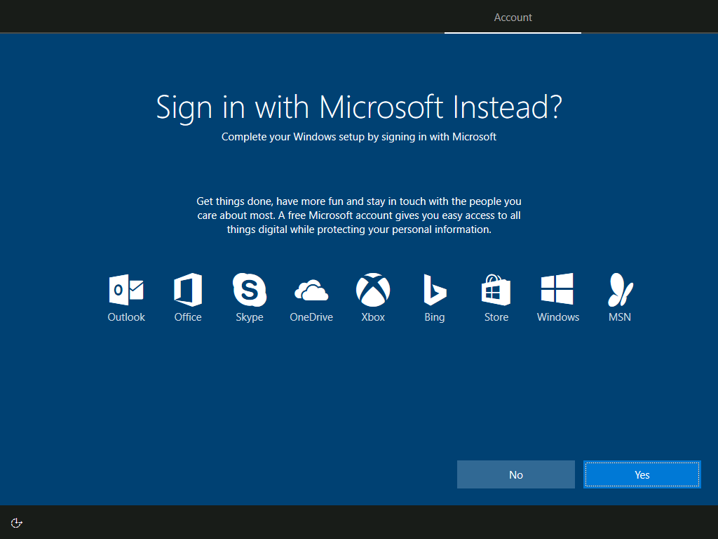 Account: Sign in with Microsoft Instead?
