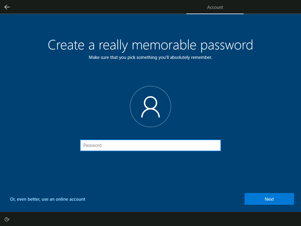 Account: Create a really memorable password