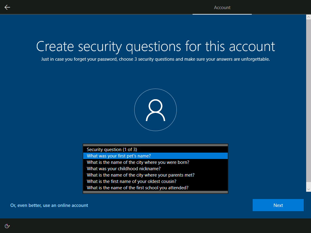 Account: Create security questions for this account