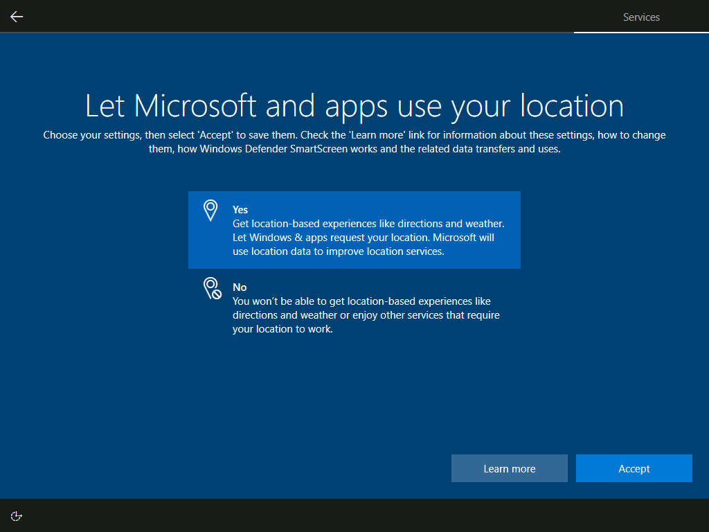 Services: Let Microsoft and apps use your location